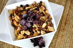 Gluten Free Grainless Granola  1 cup Raw Pecans, chopped  1 cup Dried Apples, chopped  1 cup raisins  1 cup Raw Sunflower Seeds  1/2 cup Raw Almonds, chopped  pinch of ground cloves, cinnamon and nutmeg