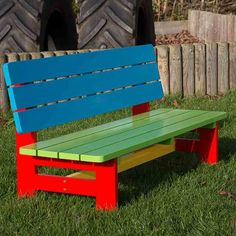 A brightly painted wooden garden bench designed for toddlers aged 2 to 5. Great for home and school use.