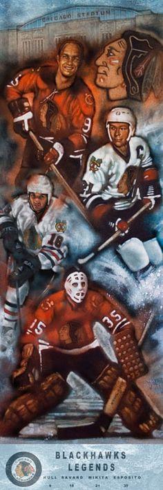 "Chicago Blackhawks 12"" x 36"" Legends Lithograph by John Hanley (6.1.12) $44.95"