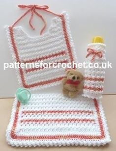 Free crochet pattern Bib, Bottle Cover and Burp Cloth USA