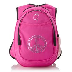 O3 Obersee Kids Pre-School All-In-One Bling Rhinestone Peace Backpack With 1f2ba13abc2a2