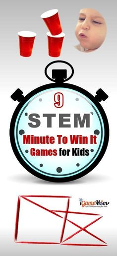 STEM Challenge Minute to Win It Party Games Kids Love. Fun ideas for classroom party or family holiday gatherings and birthday party. All with little prep needed, and easy-to-get materials, and detailed instructions even class notes for kids. #STEMforKids #iGameMomSTEM