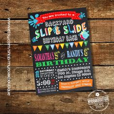 Slip and Slide backyard bash invitation birthday party water slide invite chalkboard joint siblings digital printable invitation 13566