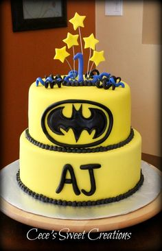 Batman Birthday Cake-- what a coincidence...it already has his name on it :)