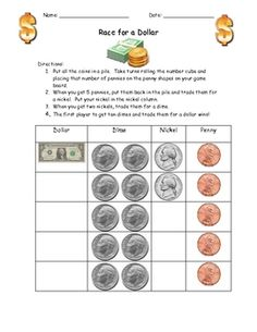 Your students will love this money math station!  Students put all the coins in a pile.  Take turns rolling the number cube and placing that number...