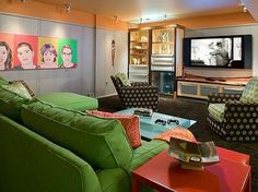 Makeover Monday: Neutral Basement Rec Room into Colorful Family Entertainment Space. » Curbly | DIY Design Community