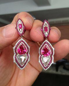 Mahenge pinkish red Spinels and rose cut diamonds in IVY earrings. #ivynewyork www.ivynewyork.com