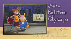 Color a Night Cityscape: Superhero Duos