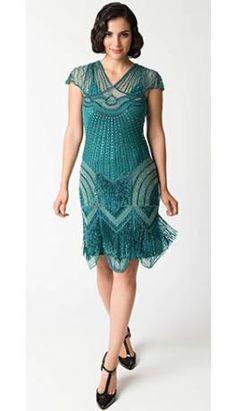 1920s Style Teal Beaded Deco Cap Sleeve Beatrice Flapper Dress