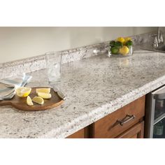Shop BELANGER Fine Laminate Countertops 6-ft Ouro Romano with Etchings Straight Laminate Kitchen Countertop at Lowes.com