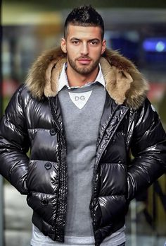 bomberbuddy: A repost because he's so fucking hot! Vynil, Mens Down Jacket, Jacket Men, Black Leather Bomber Jacket, Gay, Dapper Gentleman, Puffy Jacket, Well Dressed Men, Moda Masculina