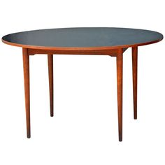 Chic Scandinavian Teak Table with Durable Black Laminate Top | 1stdibs.com