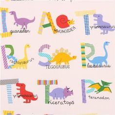 white dinosaur dino alphabet ABC Kokka Canvas fabric