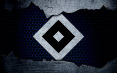Download wallpapers Hamburg, 4k, logo, HSV, Bundesliga, Hamburger SV, metal texture, soccer, FC Hamburg, football