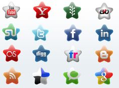 Make your site shine with the Starry Site V1 incon set. The set contains 16 glossy star-shaped icons for all of the major social media sites. The download contains PNG and PSD files, so users can use and remix the icons in any manner they choose.