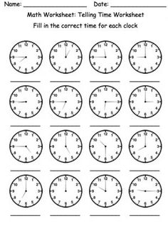 The worksheets can be created in HTML or PDF format both are simple to print. Our very first tier Mental Math Worksheets incorporate a broad array of Clock Worksheets, Mental Maths Worksheets, School Worksheets, Spanish Worksheets, 1st Grade Math, Kindergarten Math, Second Grade, Teaching Time, Teaching Math