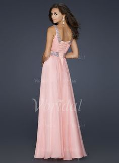 A-Line/Princess Scoop Neck Floor-Length Chiffon Evening Dress With Beading (0175057251) - vbridal