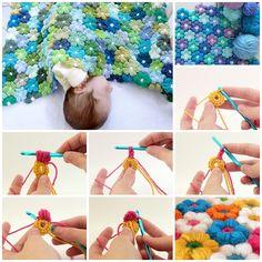 Pretty Crochet 6 Petal Flower Baby Blanket -- perfect gift for baby. Free pattern and video tutorial-->http://wonderfuldiy.com/wonderful-diy-crochet-flower-baby-blanket/