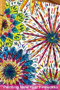 New Year Fireworks Art Painting Project For Kids New Years Activities, Art Activities For Kids, Art For Kids, Fireworks Art, New Year Fireworks, Back To School Art, New Year Art, Warm And Cool Colors, Art Base