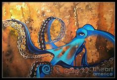 Blue octopus Mixed Media by Elizabeth Dixon - Blue octopus Fine Art Prints and Posters for Sale