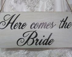 Rustic Wedding Sign Here Comes the Bride Ring Bearer Flowergirl Rustic wedding sign Photo Prop Ceremony Basket Alternative