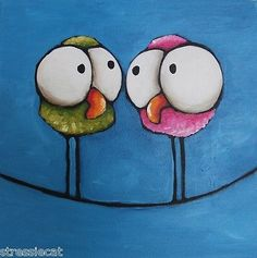 Original Fine Art Acrylic Painting Lucia Stewart Whimsical Bird Twittering Girls | eBay
