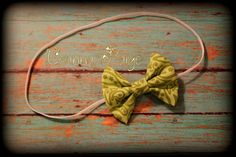 green hair bow headband fabric bow babys first by CeannaPaige Fabric Bow Headband, Fabric Bows, Newborn Headbands, Green Hair, Trendy Baby, Babys, Hair Bows, Unique Jewelry, Handmade Gifts