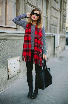 Drape a bold printed scarf around your neck & pair with a pop red lip to punch up a fall look. Description from pinterest.com. I searched for this on bing.com/images