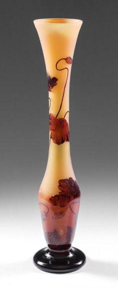 É.GALLÉ (1846-1904)___ tall  CAMEO glass vase signed GALLE