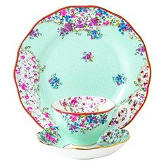 Royal Albert Sitting Pretty Candy 3 Piece Teacup, Saucer & Plate Set