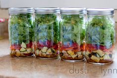 mason jar salads ~~ I've probably pinned this already.... would make an awesome work lunch for hubby or a quick grab and eat lunch for the kiddos