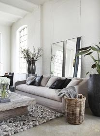 The Design Chaser: Interior Styling | Natural Love - vertical mirrors behind sofa