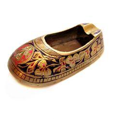 Vintage Brass Ashtray, Metal Enamel Shoe Ash Tray
