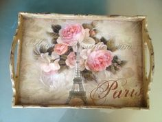 Pretty decoupaged rose Paris motif tray.