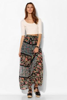 Band Of Gypsies Lace-Inset Print-Mix Maxi Skirt