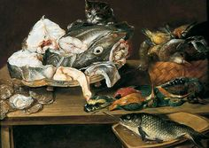 Still Life with Fish and a Cat by Alexander Adriaenssen