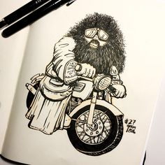 Inktober Drawing 27 – We started watching Harry Potter with the kids and I liked this ominous scene with a motorcycle riding Hagrid. Harry Potter Sketch, Arte Do Harry Potter, Harry Potter Painting, Harry Potter Comics, Harry Potter Bedroom, Harry Potter Drawings, Harry Potter Characters, Harry Potter Memes, Harry Potter Tattoos Sleeve