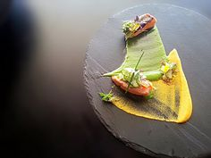 salmon, orange carrot puree, herbs musseline with cilantro, gingered Zucchini by uwe spätlich, via Flickr