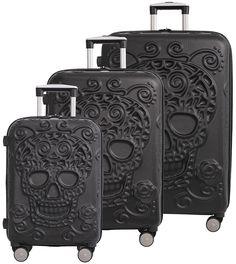 IT Luggage Skulls 3 Piece Spinner Set - Black - My Sugar Skulls