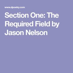 Section One: The Required Field by Jason Nelson
