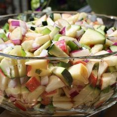 Apples and zucchini are tossed in a basil vinaigrette for a quick and easy salad.