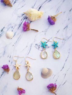 Starfish Earrings, Shell Earrings, Heart Earrings, Statement Earrings, Dangle Earrings, Coral, Turquoise, Wedding Earrings, Anniversary Gifts