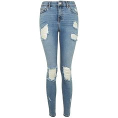 Topshop Moto Bleach Super Ripped Jamie Jeans ($59) ❤ liked on Polyvore featuring jeans, bleach, high waisted ripped jeans, high-waisted jeans, ripped blue jeans, destroyed skinny jeans and blue jeans