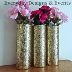3 Beautiful Glittering Glass 9inch cylinder Vases. Taller than my usual vases, perfect for kissing balls, flowers & more! Flowers not included The vases in this particular listing are decorated in glitter, and sealed to reduce glitter shedding. Specifics/Measurements: