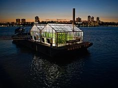 The Science Barge greenhouse is a prototype of sustainable urban farm floating on the Hudson River. The greenhouse grows an abundance of fresh produce including tomatoes, melons, greens, and lettuce with zero net carbon emissions, zero pesticides, and zero runoff.    More at Groundwork Hudson Valley
