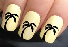 nail decals #355 Caribbean beach palm tree water transfers stickers manicure art set x24 by Nailiciousuk on Etsy