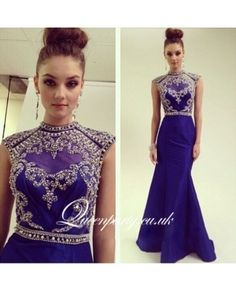 Royal Blue Satin Mermaid Evening Gown With Beaded Bodice