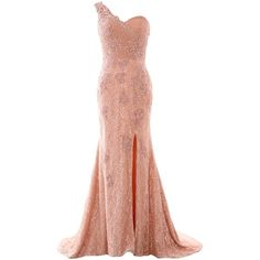MACloth Women Mermaid One Shoulder Lace Long Formal Evening Dress Ball... ($169) ❤ liked on Polyvore featuring dresses, gowns, white dress, white formal gowns, long evening dresses, long white dress and long gowns