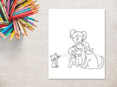 Kitty Cat was a happy cat until the new pet arrived. Meet little Kitty Cat, Digger the dog, Millie and baby Max. All these characters are from my picture book series Millies World. This cute animal coloring page is ready to be printed and colored in with gel pens, markers, colored pencils and your other favourite medium of choice. It would be a sweet addition to a new nursery or a kids bedroom wall. I created this illustration originally from a pencil drawing. If you would like to find out…