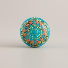 One of my favorite discoveries at WorldMarket.com: Turquoise Painted Wooden Knobs, Set of 2